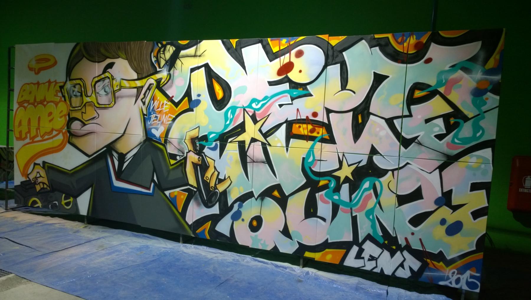 Un graffiti pour les voeux du maire à lens