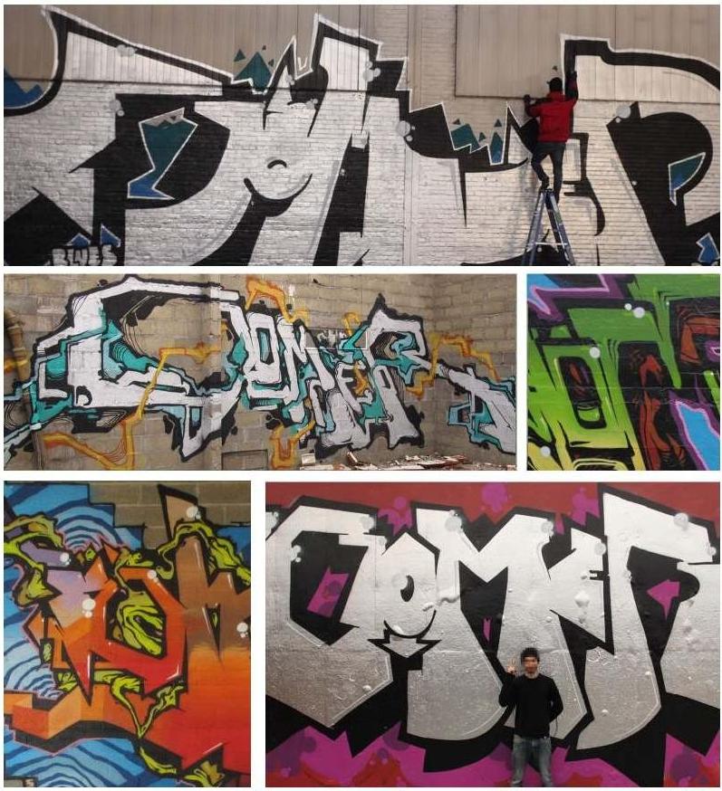 Gomer a réalisé avec d'autres graffeurs le mur de démo