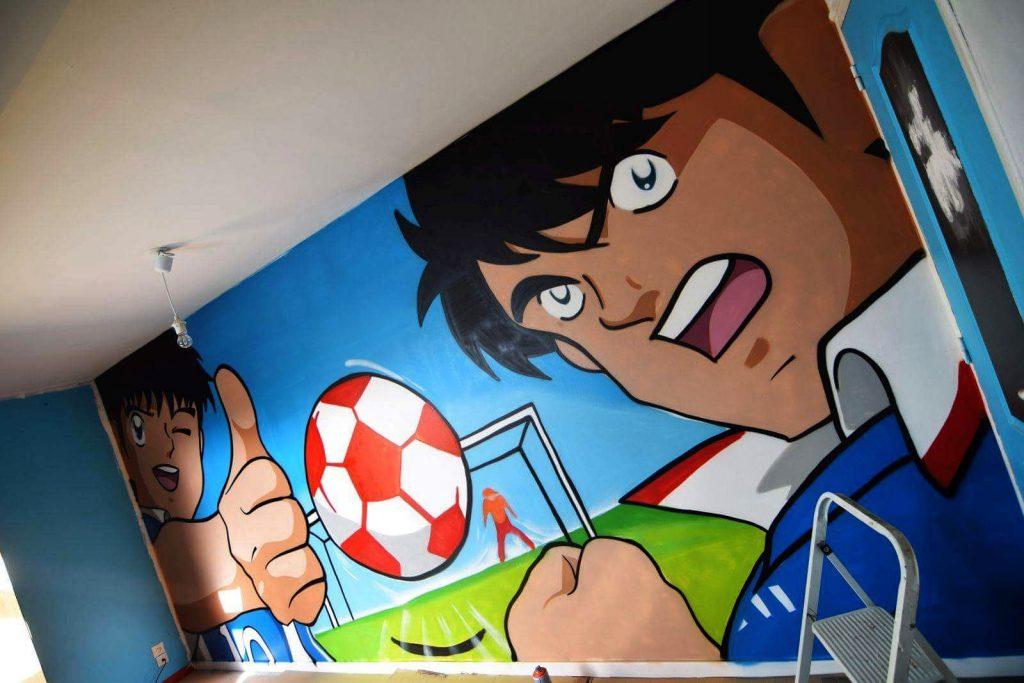 Graffiti manga par notre collectif de graffeurs du nord pas-de-calais
