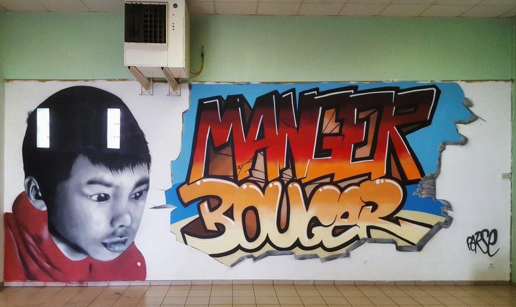 Fresque art de rue manger bouger à Annay Sous Lens