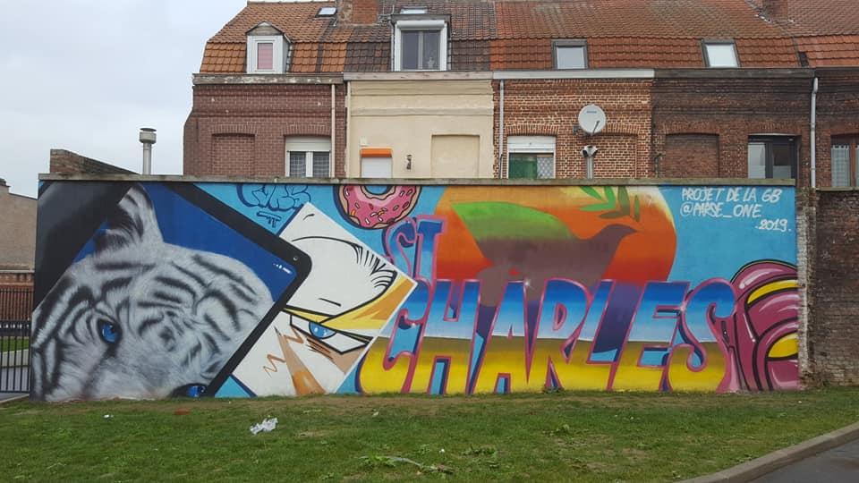 Fresque street art collège Saint Charles Armentières