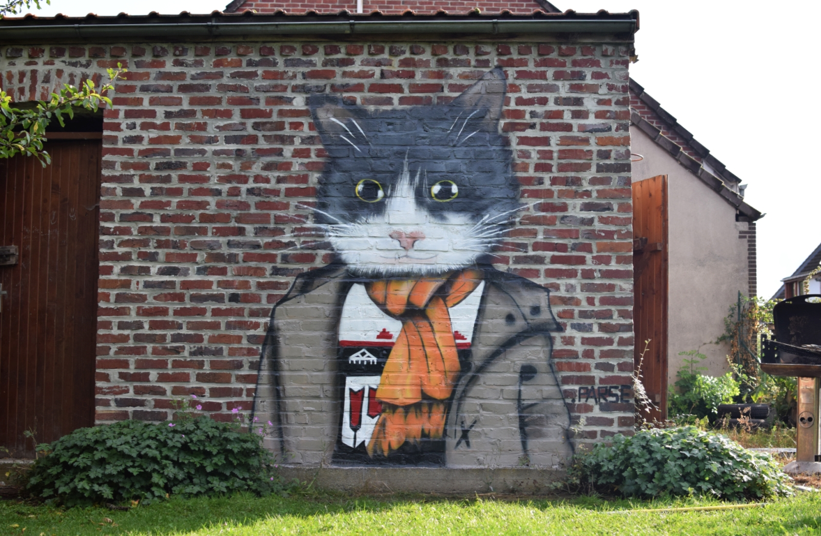Un graffiti de chat à Hornaing