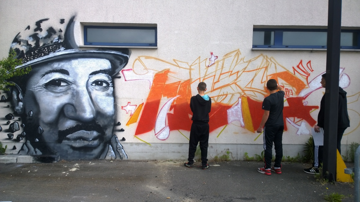 Un graffiti en hommage aux mineurs de fond