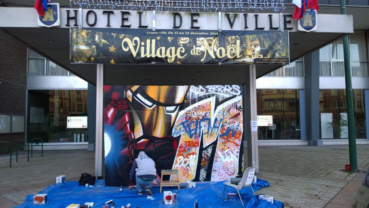 Un graffiti pour le Téléthon de 2014 à Lens