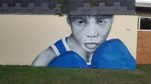 Portrait street-art de boxeur à Noeux les Mines