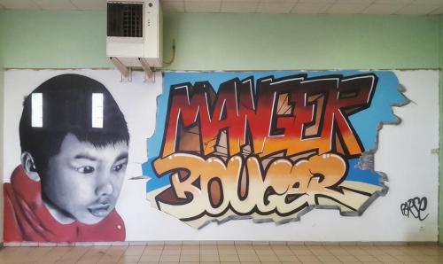 Fresque murale dans un CAJ centre animation jeunesse