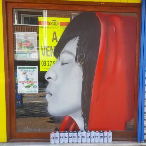 Portrait de fille de profil en graffiti à Maubeuge