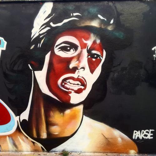 Graffiti portrait réaliste de personnage du film les Warriors.