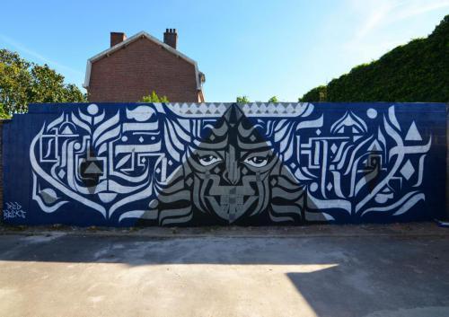 Fresque murale calligraphie
